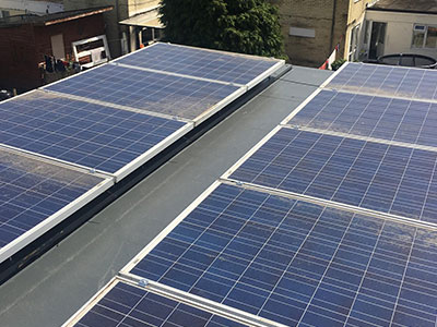 Solar panels on a Fibreglass Roof Southampton