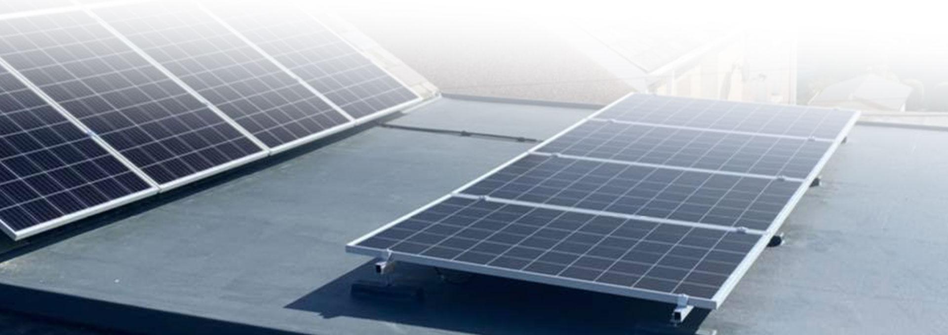 fibreglass roof with solar panels