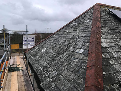 The slate on this roof could not be saved