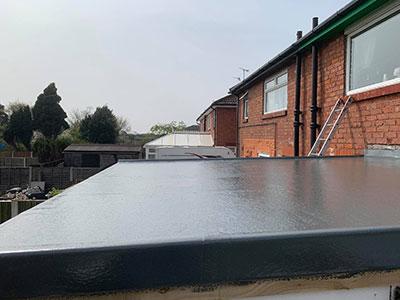 the new fibreglass roof