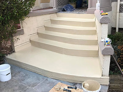 finishing the work on the steps